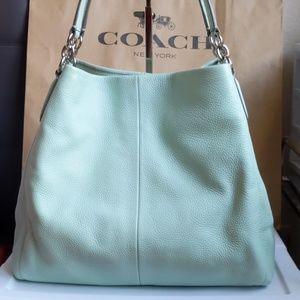 Coach Mint Pebble Leather Phoebe Hobo Bag